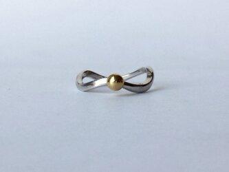 silver +k18ball  Grain ringの画像