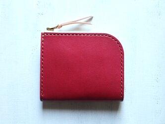 【受注生産品】L字ファスナー小さい財布 〜姫路アニリンピンク×栃木ヌメ~の画像