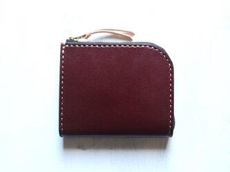 【受注生産品】L字ファスナー小さい財布 ~栃木アニリンバーガンディ×栃木ヌメ~の画像