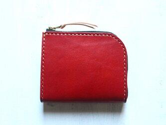 【受注生産品】L字ファスナー小さい財布 ~栃木アニリン赤×栃木ヌメ~の画像