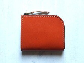【受注生産品】L字ファスナー小さい財布 ~栃木アニリンオレンジ×栃木ヌメ~の画像