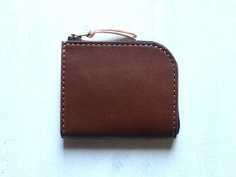 【受注生産品】L字ファスナー小さい財布 ~栃木アニリン茶×栃木ヌメ~の画像