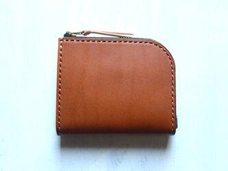 【受注生産品】L字ファスナー小さい財布 ~栃木アニリンキャメル×栃木ヌメ~の画像