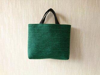 裂き織りのバッグ スクエア  グリーンの画像