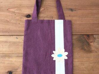 麻のミニトート 紫 お花モチーフの画像