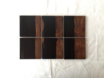 【 j 様ご依頼】黒柿の平皿 二枚合三組木目通し(黒々)の画像