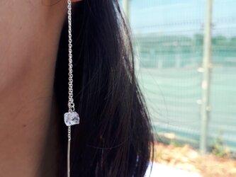 ハーキマーダイヤモンド スターリングシルバー925 ロングチェーンピアスの画像