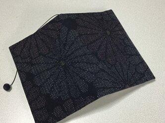 ★再販★    343     着物リメイク    結城紬     菊花模様    文庫サイズブックカバーの画像