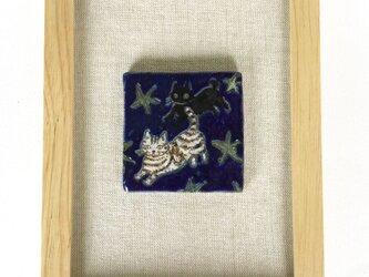 夜に走る猫(陶板絵)の画像