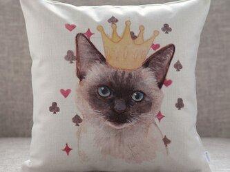 クッションカバー シャム クラウン 猫 北欧デザイン jubileecushionai009の画像