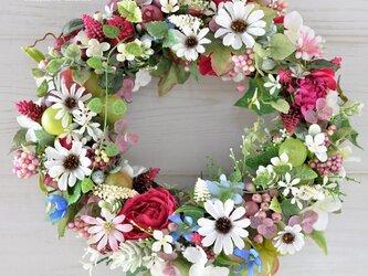 白い花と葡萄の実と:wreath 葡萄 の画像
