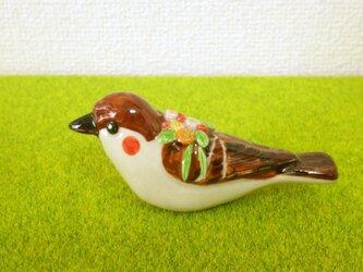 雀と小花 花小鳥/大(陶)の画像