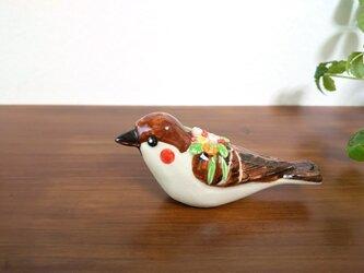 花小鳥/大 スズメ(陶器)の画像