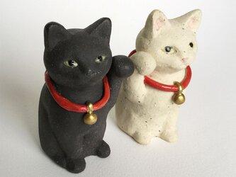 かわいいまねき猫(白と黒)の画像
