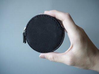 イタリアンレザーの丸コインケース ブラックの画像