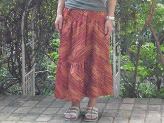 【アンティーク着物をリメイク】銘仙3段ティアードスカートの画像