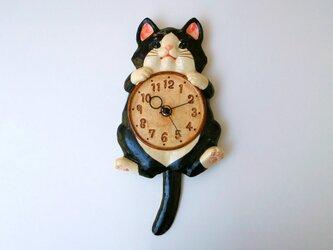 陶器の掛時計 福々招き猫 ハチ尾振の画像