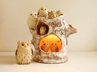 やフクロウの家ランプ 日本のフクロウセット の画像
