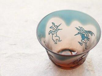 【再販】ガラス ぐい呑み「鳥獣戯画」ピンクブルーの画像