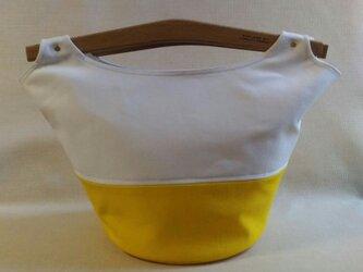 帆布 バッグ 白x黄色の画像
