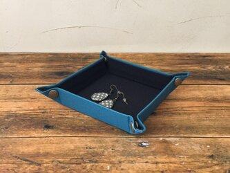 受注制作  帆布で作ったマルチトレー   ミニ    セルリアンブルーの画像