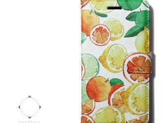 【両面デザイン】 iphoneケース 手帳型 レザーケース カバー レモン×オレンジ×ライム フルーツ柄の画像
