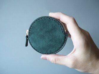 イタリアンレザーの丸コインケース グリーンの画像