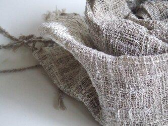 「Hさまご依頼品」手織りコットンマフラー・・茶のグレーの画像