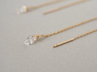 〔14kgf〕ハーキマーダイヤモンドアメリカンピアス(TM-E064)の画像