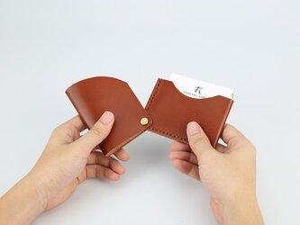 【切線派】回轉本革名刺入れ カードケース 名刺ケース 総手縫い 焦げ茶の画像