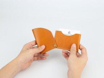 【切線派】回轉本革名刺入れ カードケース 名刺ケース 総手縫い はちみつの画像