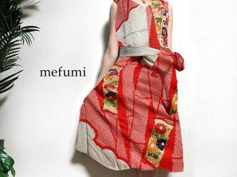受注制作 ✳︎1点物 ✳︎ アンティーク  着物リメイク   紅白絞  フォーマルワンピース ✳︎ サイズ 9号/11号/13号の画像