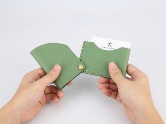 【切線派】回轉本革名刺入れ カードケース 名刺ケース 総手縫い ミントの緑の画像