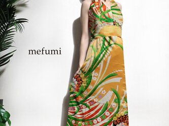 受注制作 ✳︎1点物 ✳︎ アンティーク  正絹 金茶色 振袖 着物リメイク   フォーマル ロングワンピース  M/Lサイズの画像