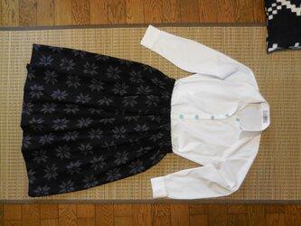 セール!久留米絣のスカート(黒に花柄)の画像