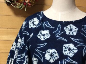 ☆受注製作 藍染 絞りが素敵なドルマン袖ブラウス♪の画像