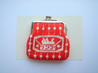 編み込みのがま口 リンゴ箱のねこ 赤2の画像