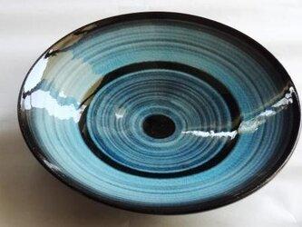 中皿 トルコ青釉上掛けの画像