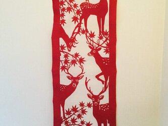 茜型染手拭【鹿】の画像