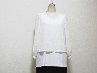 白のシンプルなブラウス(変わり織の伸縮素材レース)の画像