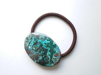 天然石の髪飾り「地球のカケラ クリソコラ」の画像