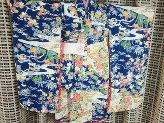 ♪市松人形の着物15号サイズ  紺に花柄87の画像