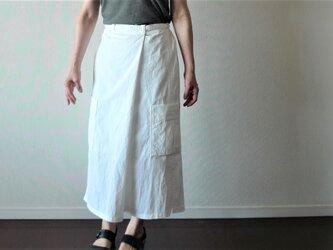 ワークロングスカート ホワイト スカート丈セミオーダーの画像