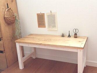 テーブル ホワイト&ダークウォルナットの画像