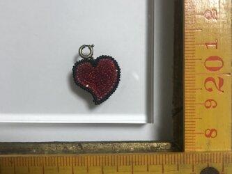 「ハートチャーム 大 レッド」 *リュネビル刺繍ブローチの画像