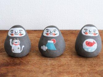 黒絵だるま ( 招き猫・富士山・鯛 )の画像