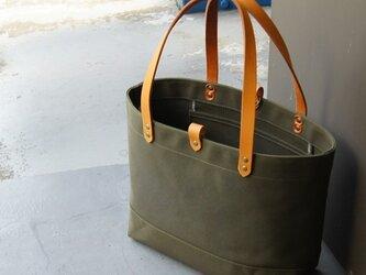 たっぷり容量6号帆布のトートバッグ~カーキ(倉敷帆布)~の画像