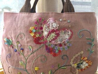 刺繍バッグ(ピンク)の画像
