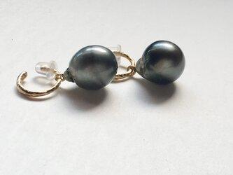 [EC] Black pearl Ear Clipsの画像