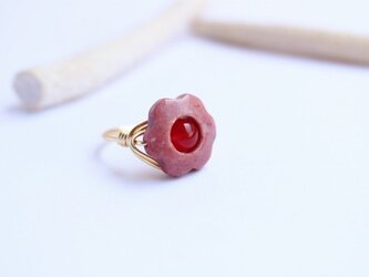 くすみピンク色のお花 Wire Ringの画像